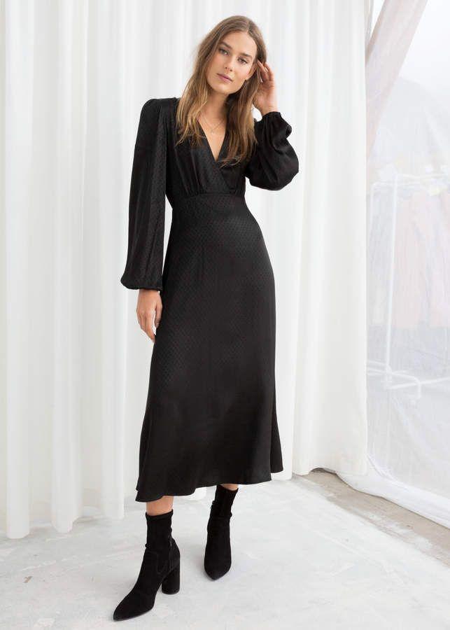 bf3b11b0380f Jacquard Empire Midi Dress in 2019 | Products | Dresses, Black midi ...