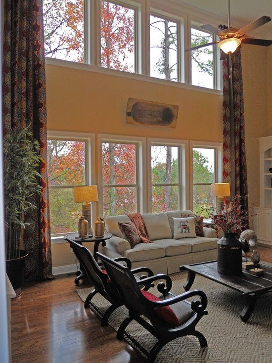 Two Story Window Treatments Design Pictures Remodel Decor And Ideas Window Treatments Living Room Living Room Windows High Ceiling Living Room