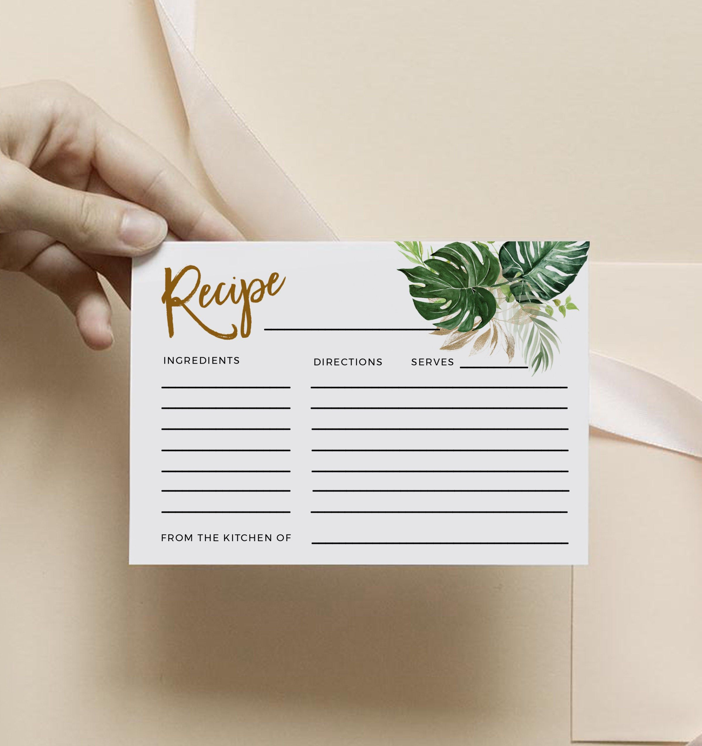Recipe Card Template Tropical Bridal Shower Recipe Insert Instant Download 100 Editable Te Bridal Shower Recipes Cards Recipe Cards Template Tropical Bridal