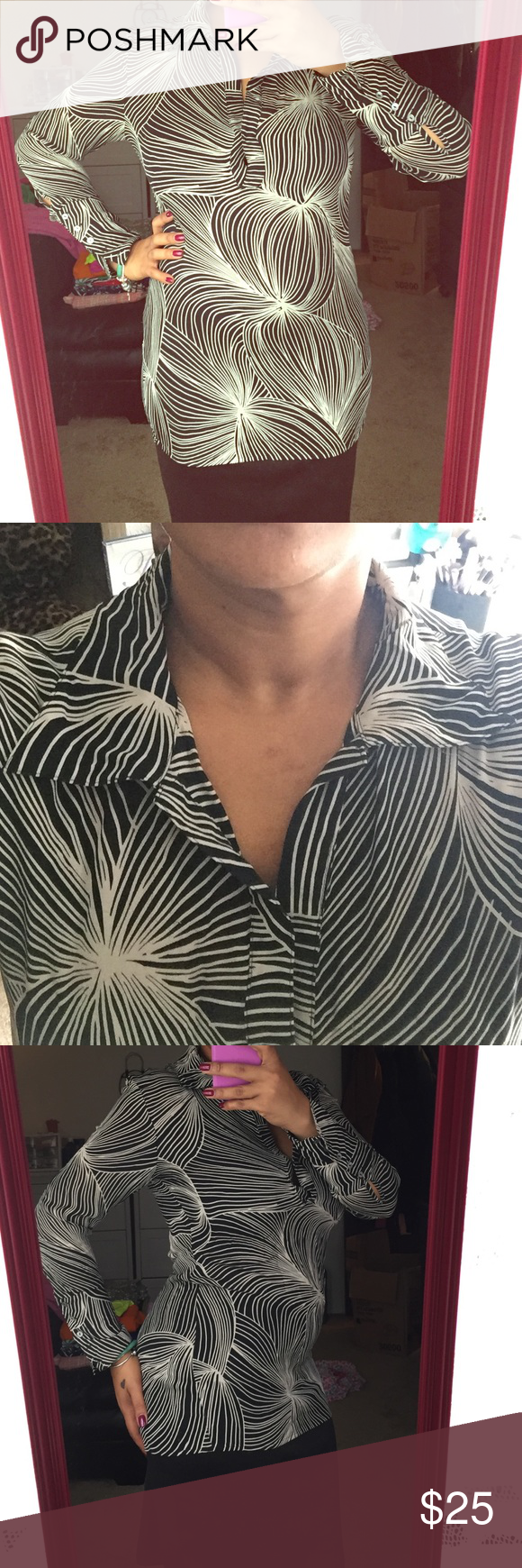 100% silk shirt(semi sheer) Black and white long sleeve collared shirt. Deep v with snap in front. Button closure on sleeves. 100% silk Tops