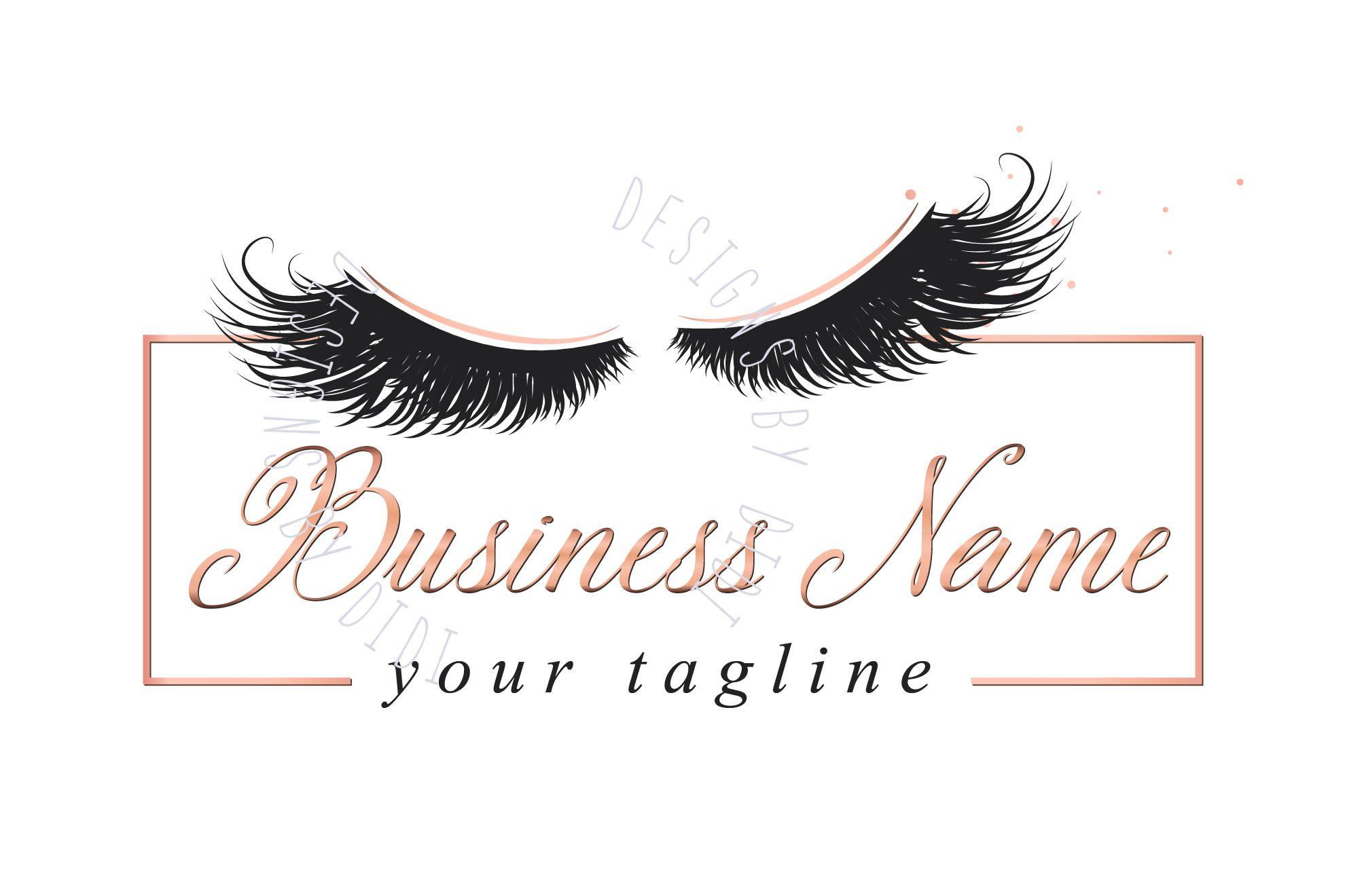 Custom logo, lashes logo, eyelash logo, cosmetics logo, gold pink