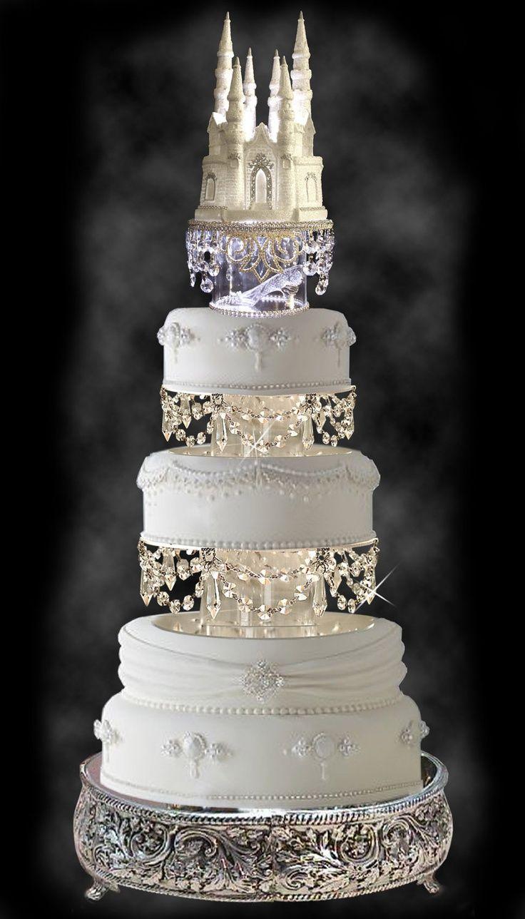 Gorgeous Wedding Cake With Swarovski Crystal Cinderella Castle Royal Topper