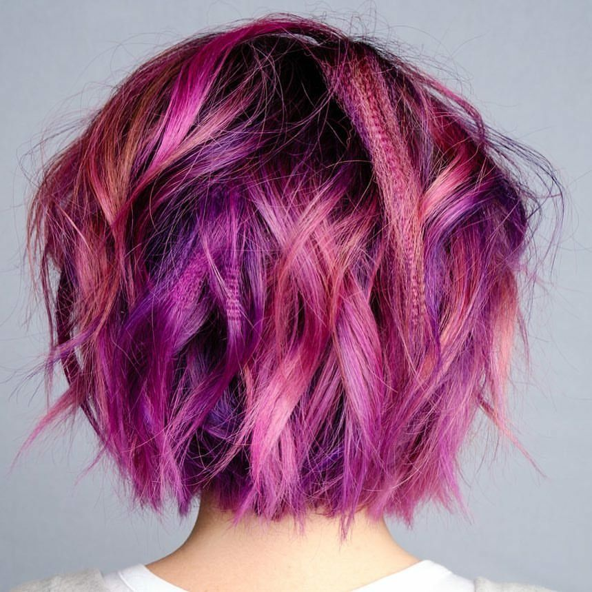Beauty Fantasy Unicorn Purple Violet Red Cherry Pink Yellow Bright Hair Colour Color Coloured Colored Fire Styl Hair Styles Hair Color Pink Bright Hair Colors