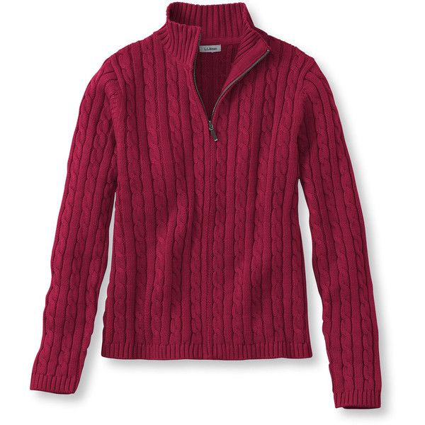 L.L.Bean Double L Cotton Sweater, Zip-Front Cable Cardigan Misses ...