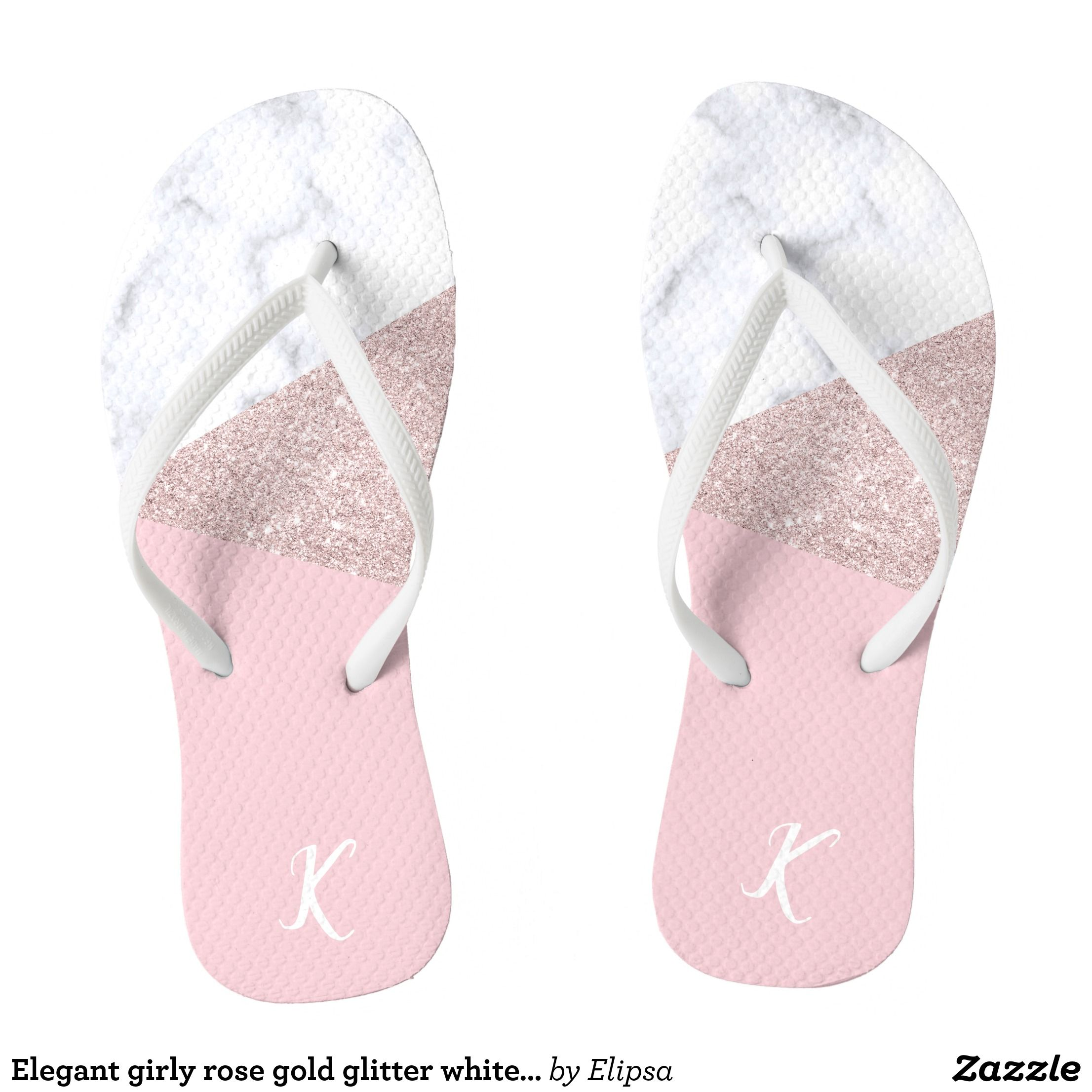e37ecaf3f1612 Elegant girly rose gold glitter white marble pink flip flops - Durable  Thong Style Hawaiian Beach Sandals By Talented Fashion   Graphic Designers  -  sandals ...