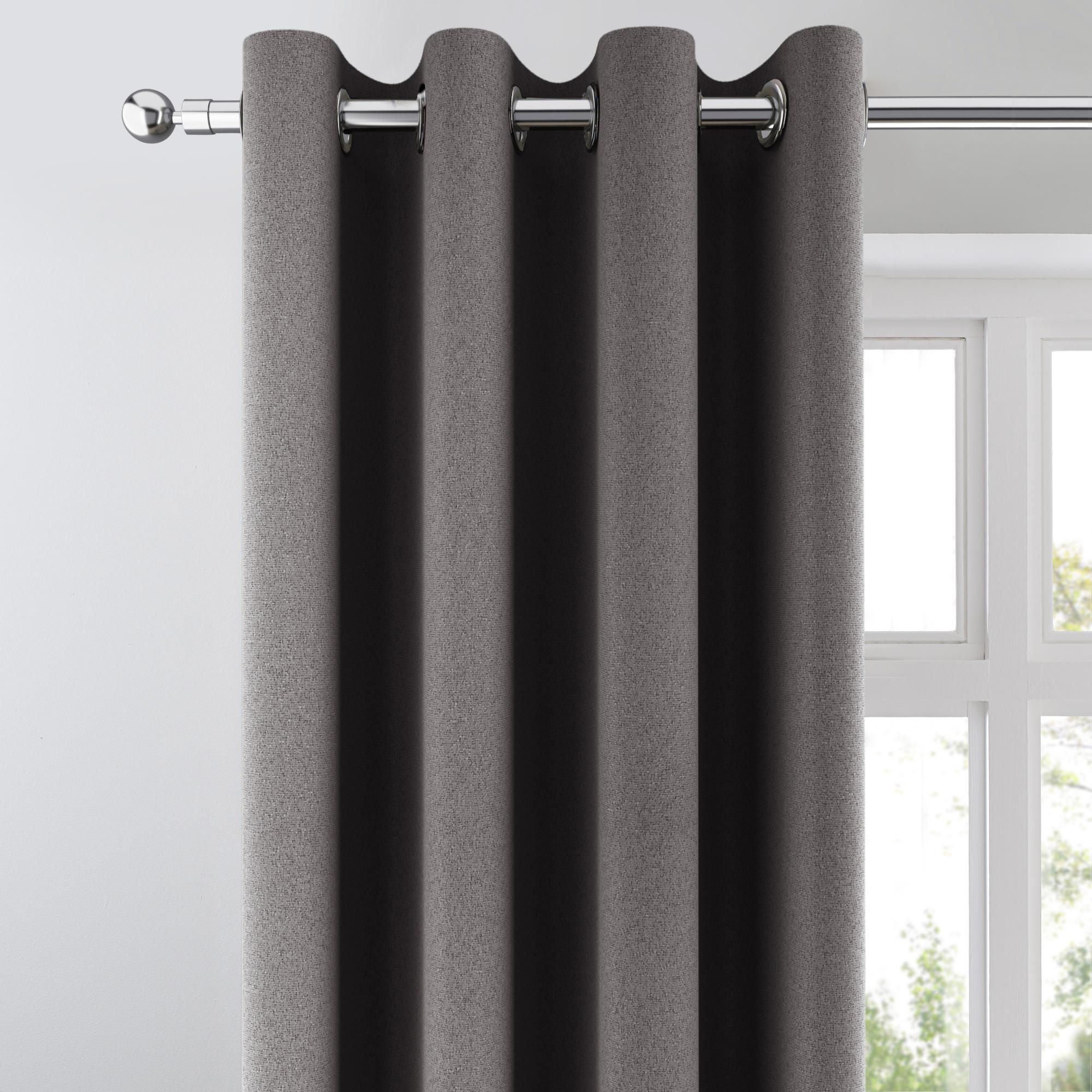 Chicago Charcoal Jacquard Blackout Eyelet Curtains In 2020