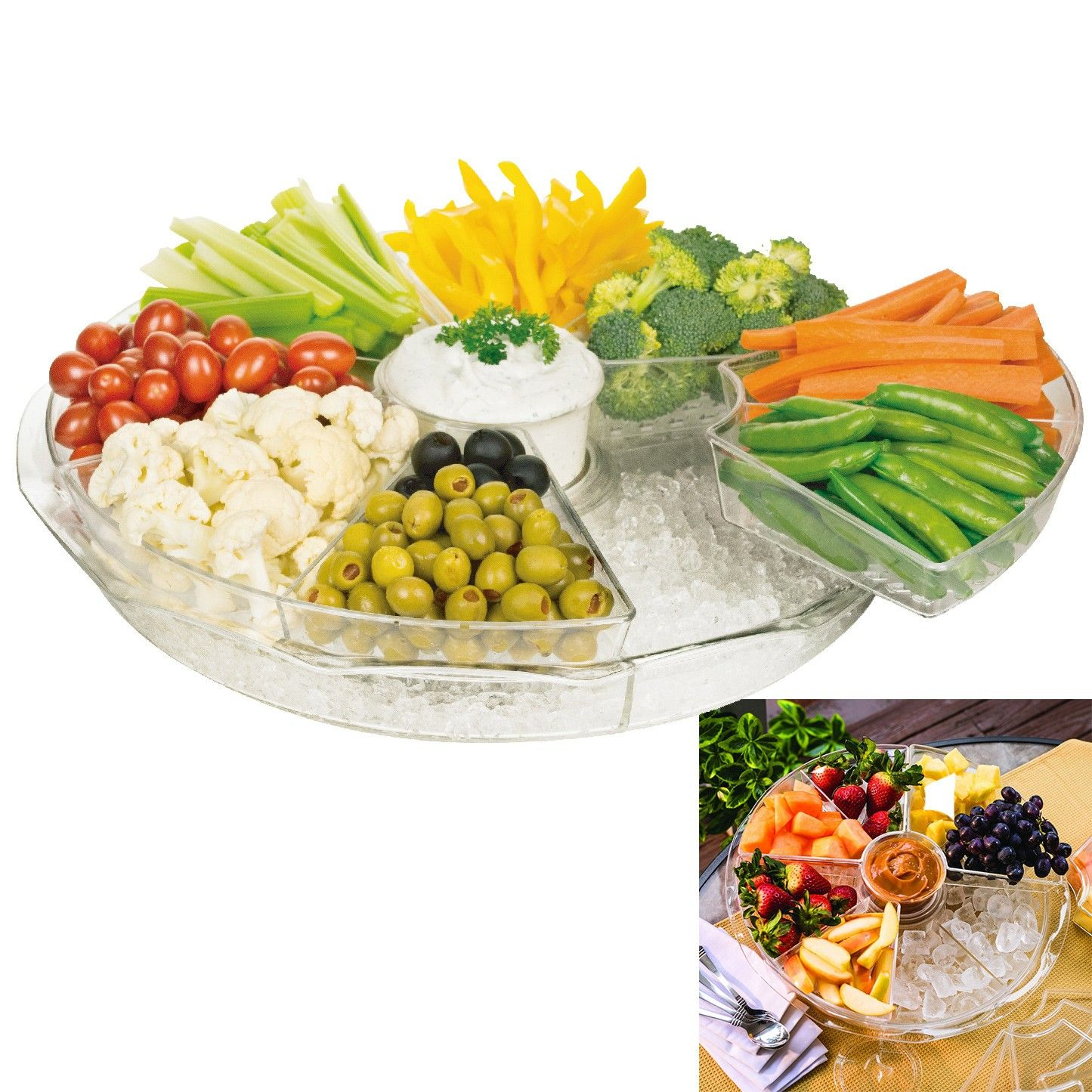 Parini Ice Chilled Divided Platter Serving Tray Appetizers On Ice With Lids