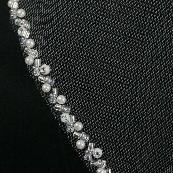 Bridal Veil with twisted Pearl and Bugle Bead Edge