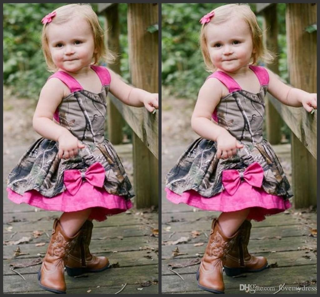 Camo Dress For Little Girls Cheap Formal Wear Knee Length Sleeveless