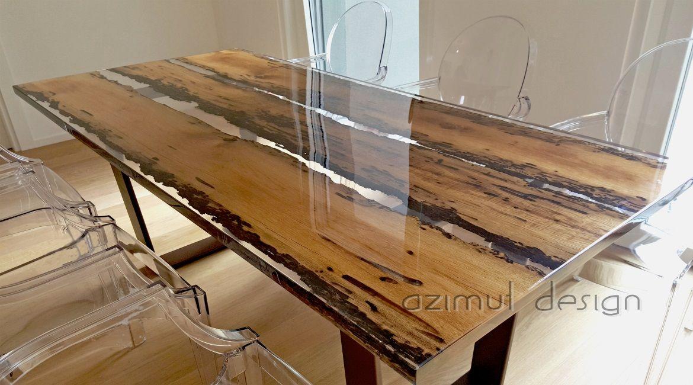 Tavolo resina ~ Tavolo in resina e legno in bricole veneziane certificate