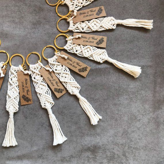 50 pcs Macrame keychains for; boho wedding souvenir, bridesmaid gift, bag charms, babyshower gift, wedding favors for guests.