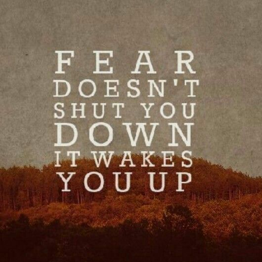 'Fear doesn't shut you down. It wakes you up.'