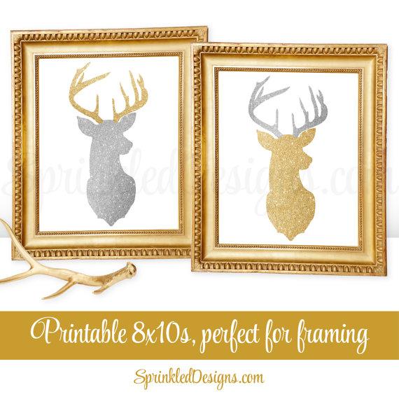 Printable Winter Decor - Gold Deer Head Wall Art, Deer Antlers Sign ...