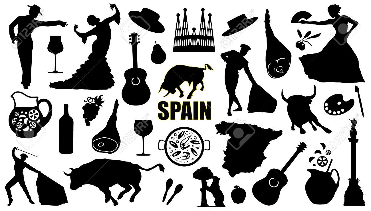 Spain Silhouettes On The White Background Around The World Theme Spain White Background