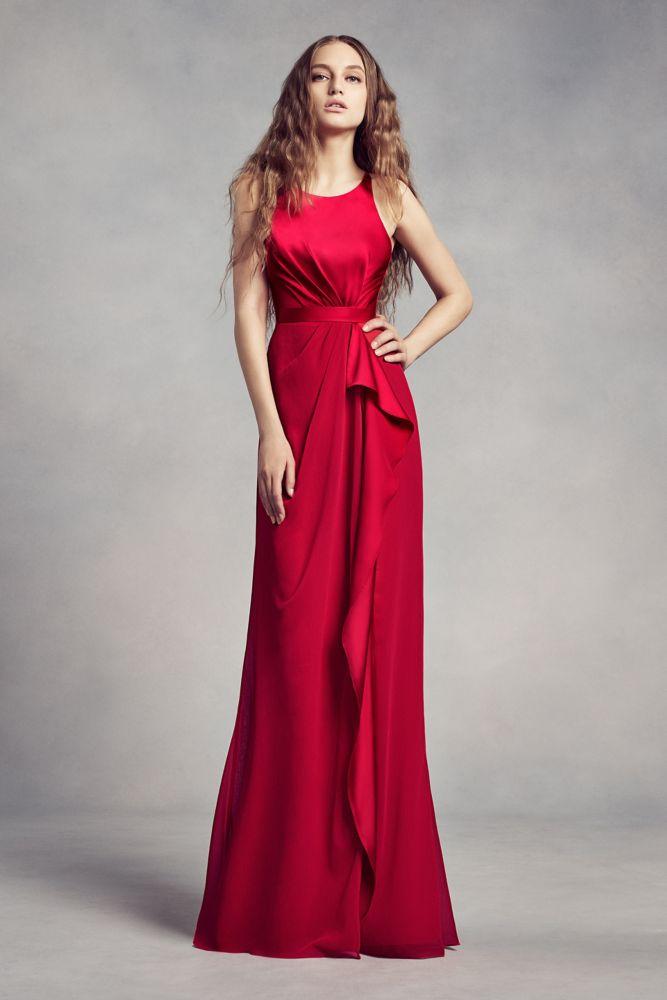 Valentina Red Chiffon Dress
