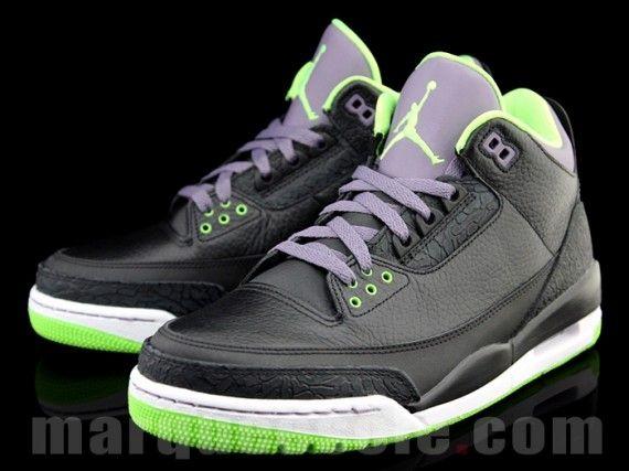 online store 082c6 b4723 Air Jordan III Black Green Purple