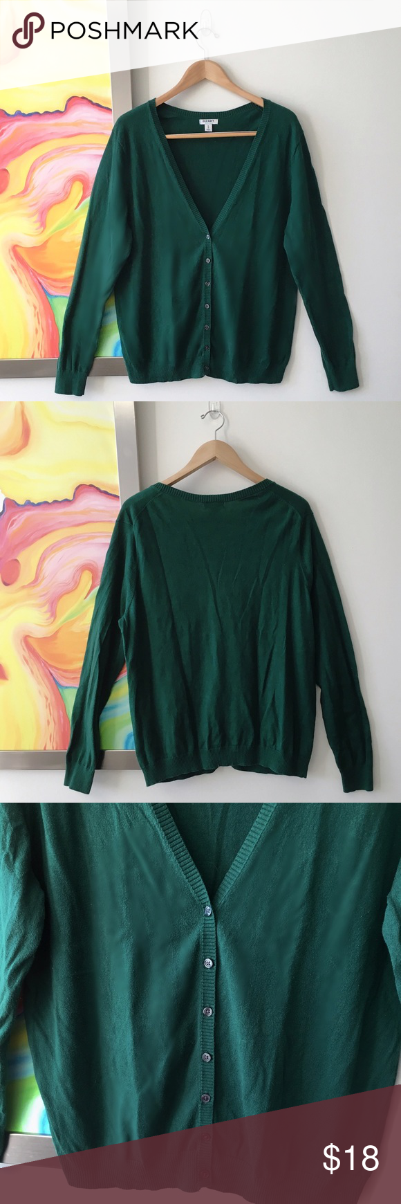"""OLD NAVY Evergreen Cotton Boyfriend Cardigan Pre-loved. Rich evergreen color. Approx measurements taken flat: Hips 21""""; armpit to armpit 24""""; Length 28"""" Old Navy Sweaters Cardigans"""