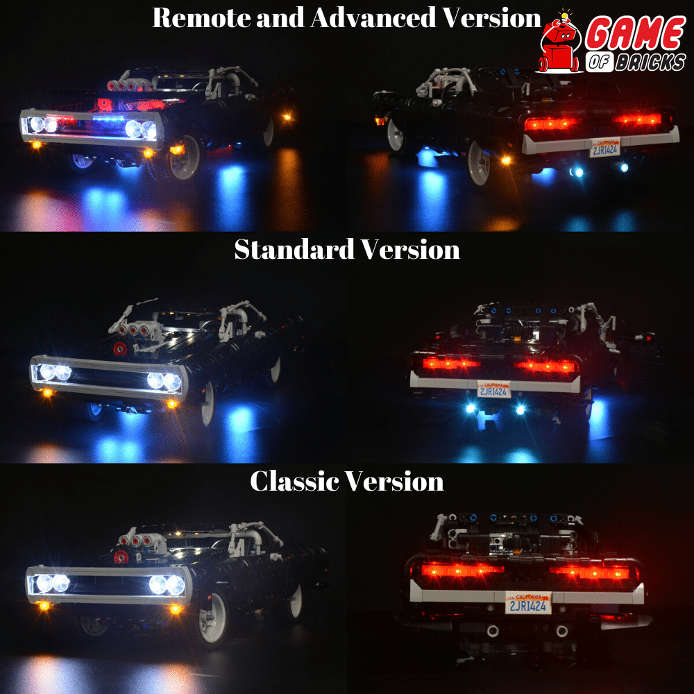 Updated LED Light Kit For Technic Fast Furi Dom's Dodge Charger LEGO 42111 Set