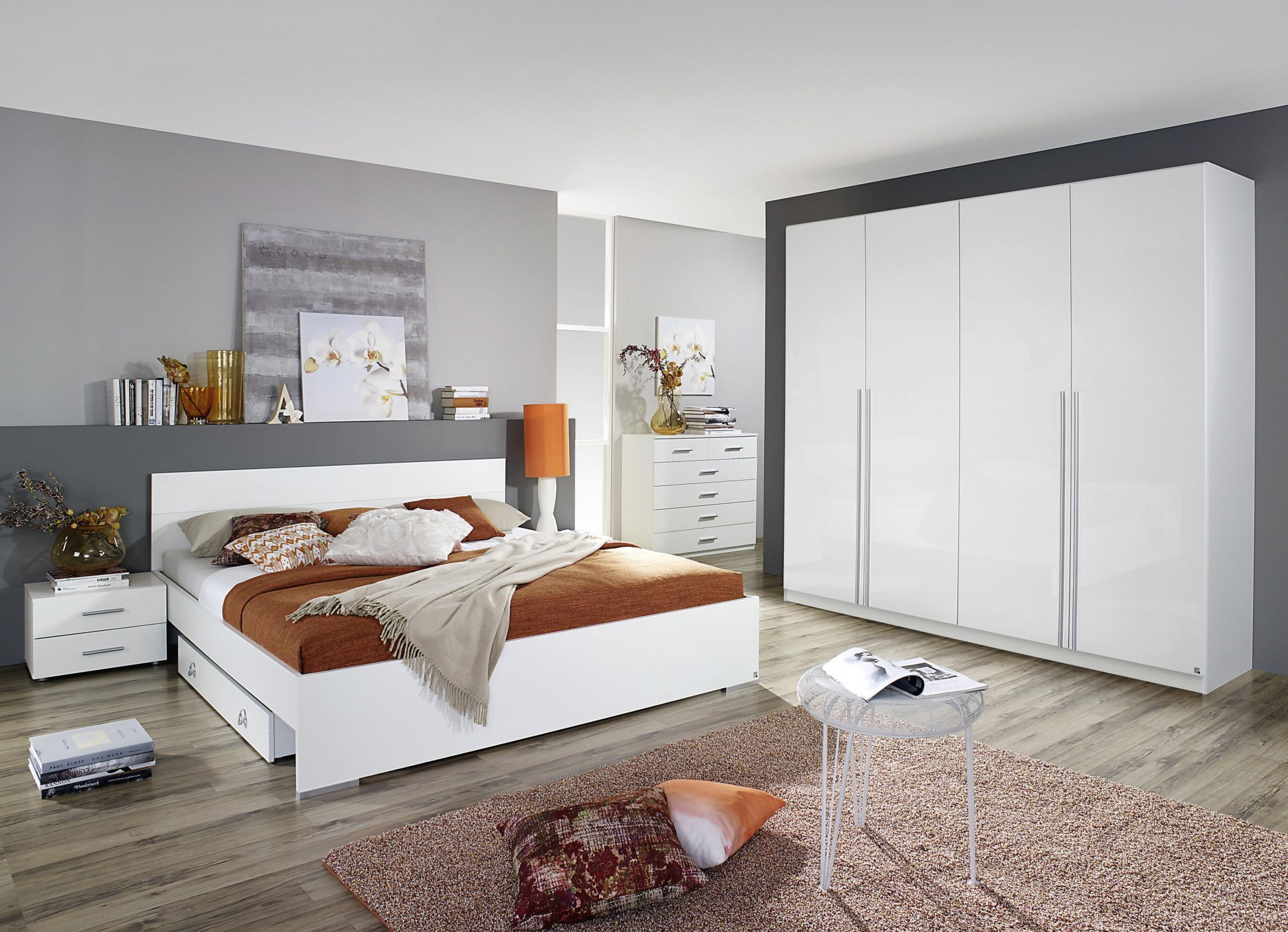 Schlafzimmerset Hochglanz Weiss Mit Bett 180 X 200 Cm