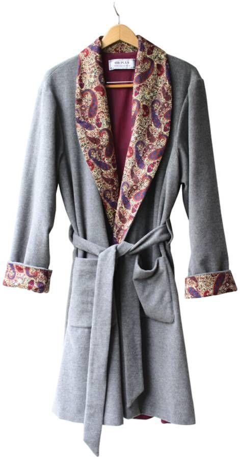 Grey Cashmere   Maroon Paisley Dressing Gown Men s dressing gown made with  high quality cashmere and 5d09e4c02