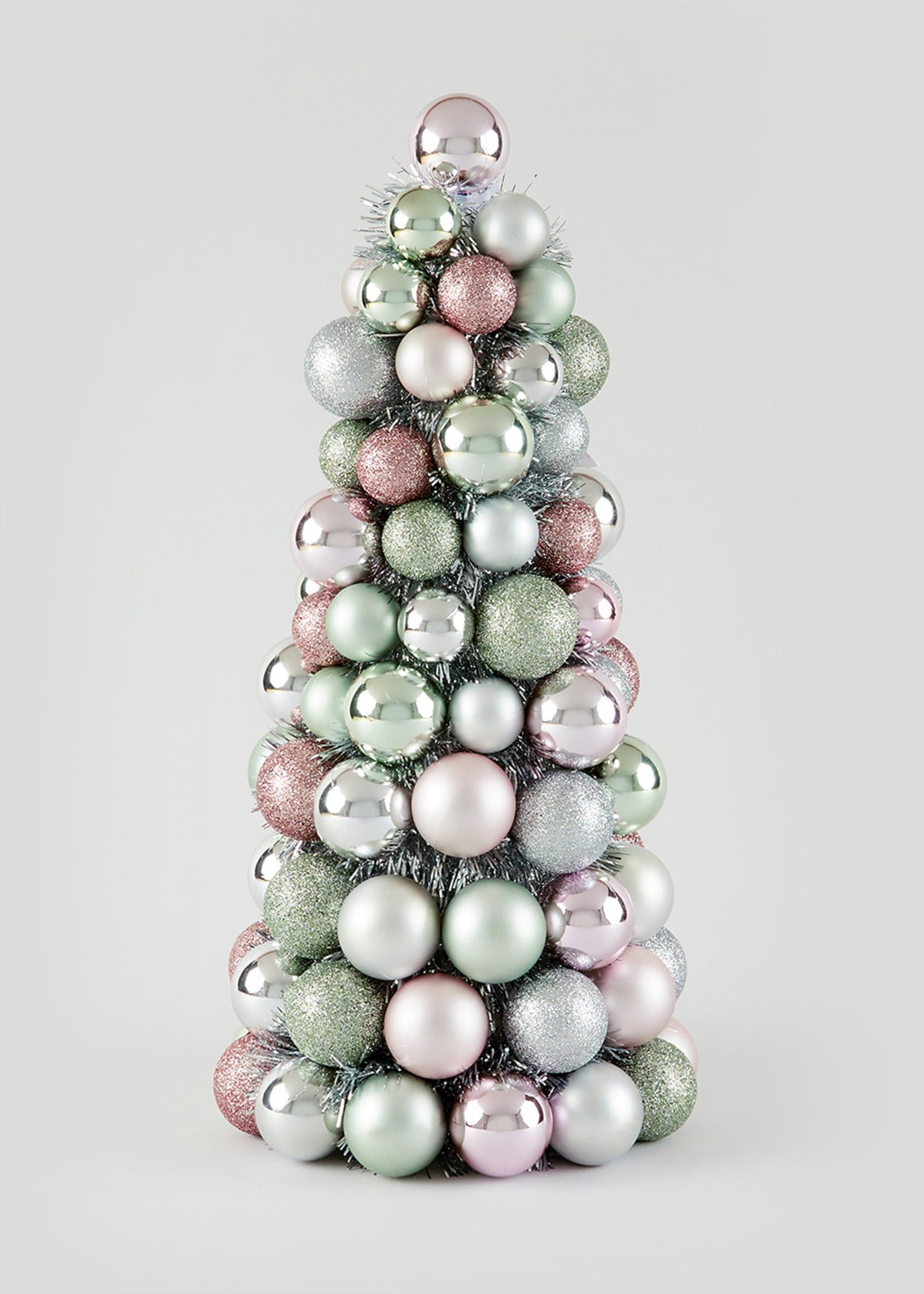 Christmas Bauble Tree 40cm Multi Homemade Christmas Table Decorations Christmas Tree Baubles Christmas Decorations