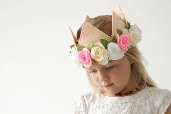 Felt flower crown, girl birthday crown, flower headband, flower girl hairpiece, ...,  #Birthd... #feltflowerheadbands