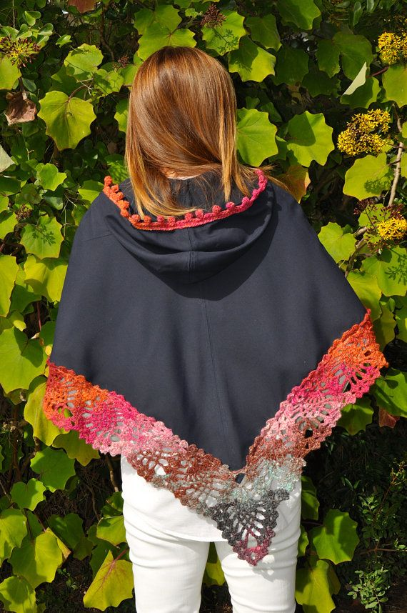Handmade hooded cape with crochet border / Hooded by SophieCRO ...