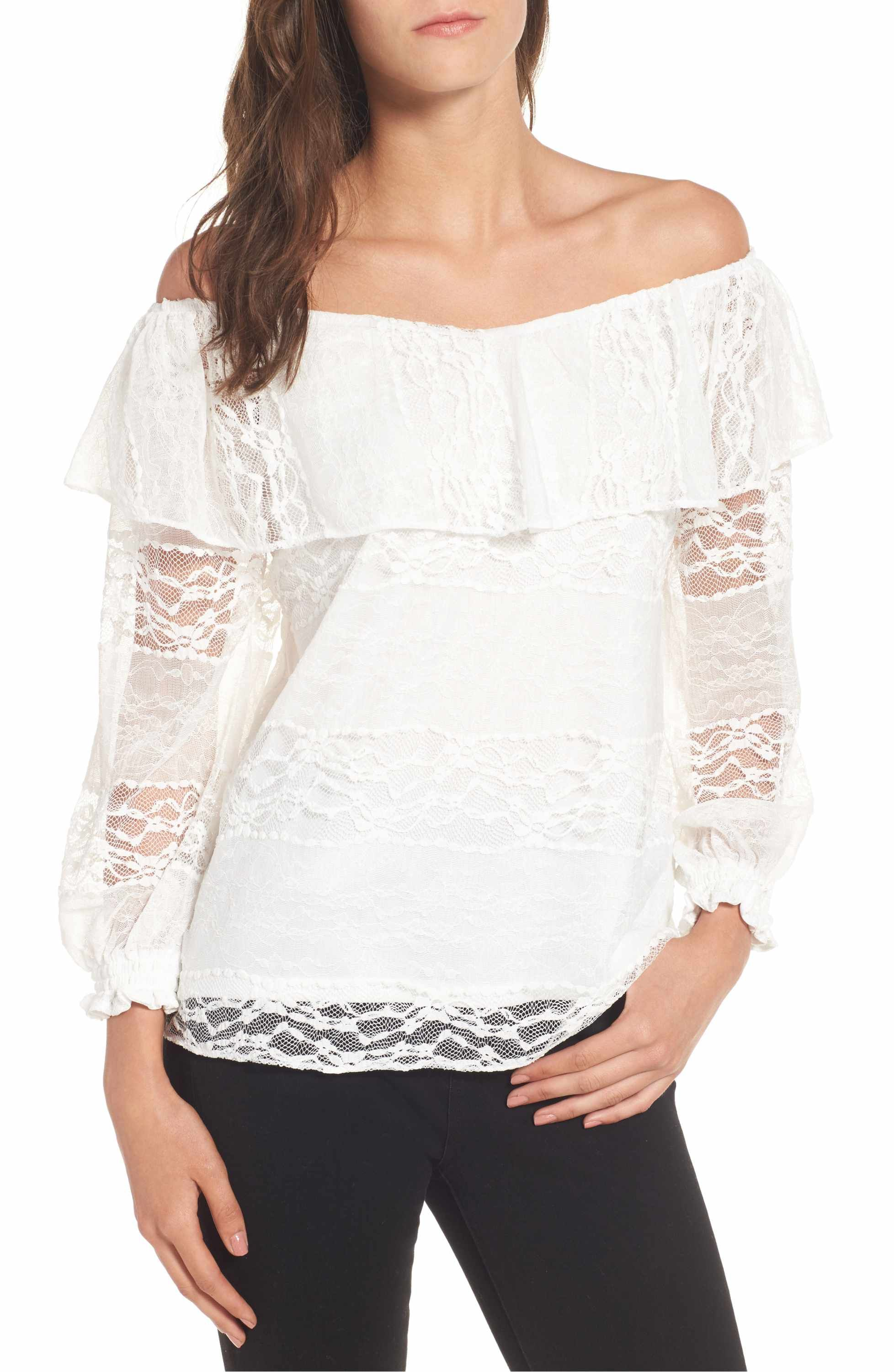 c255926bc6b36 Main Image - devlin Wilma Off the Shoulder Lace Blouse