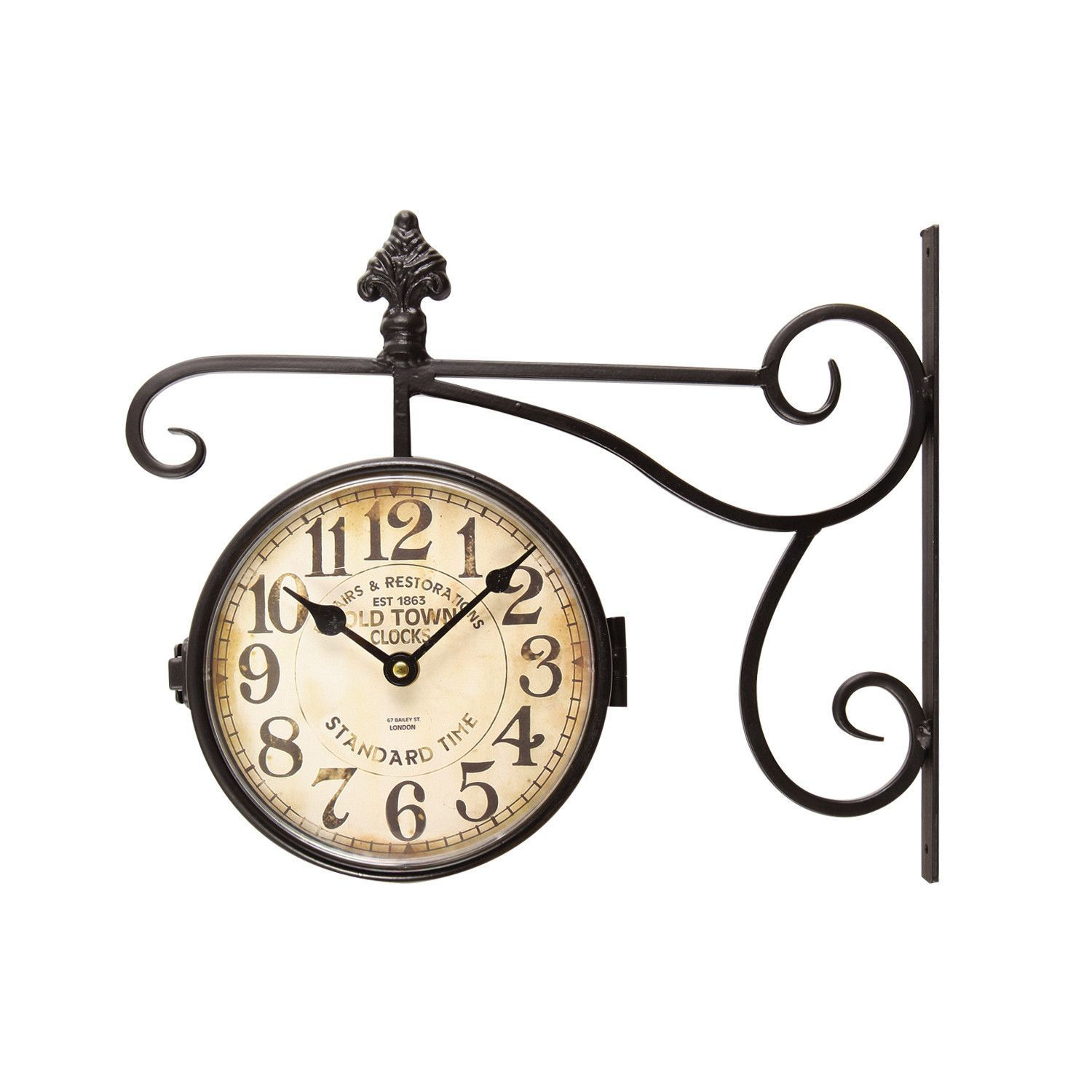 furnistars black iron vintage inspired double sided wall clock adeco black wrought iron vintage inspired train