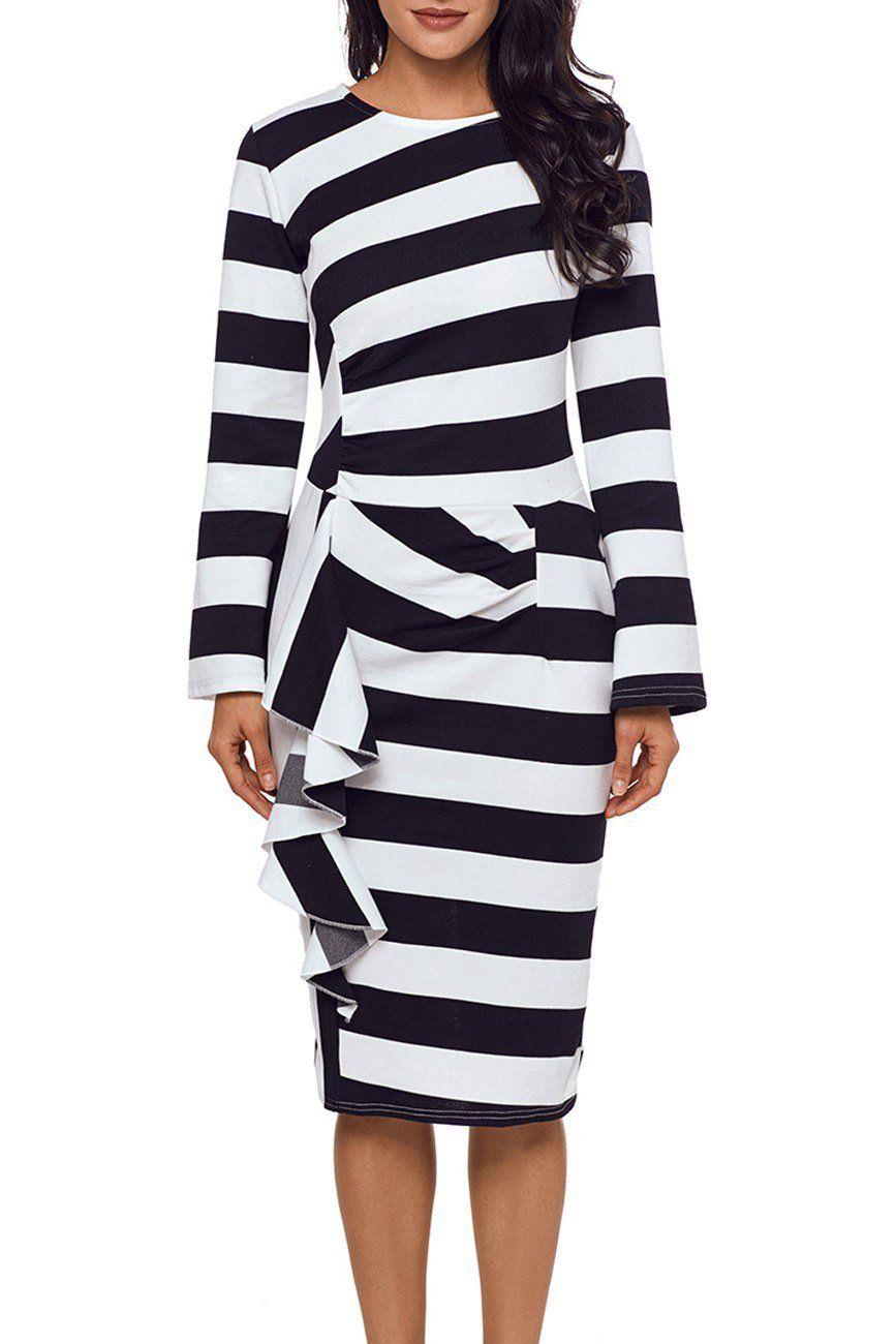 White black striped ruffle side back slit long sleeve midi dress