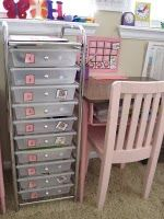 ideas from this that i like:  (1)subjects in drawers with all supplies needed, that's efficient. (2)using the stickers on the drawers to mark off completion. (3)'work with mom' indicators. (4) a snack drawer for motivation.