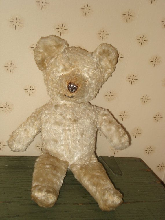 SALE  1930s Tin Metal Nose Mohair Teddy Bear  Antique  Old  Vintage  Collec SALE  1930s Tin Metal Nose Mohair Teddy Bear  Antique  Old  Vintage  Collectible 193