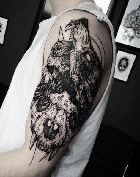 tattoo ideas on arm of wolf tattoo with skull with blackwork tattoo style all. Black Bedroom Furniture Sets. Home Design Ideas