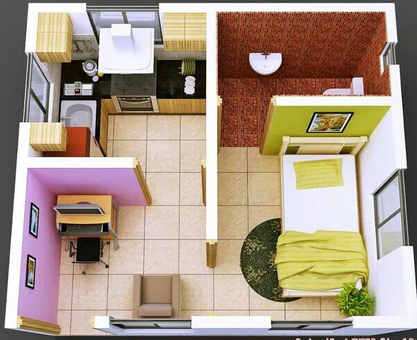 Designing a small apartment interior design Pinterest Studios - Plan De Maison En 3d