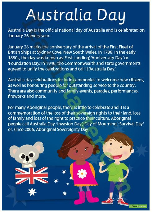 a poster with information on australia day