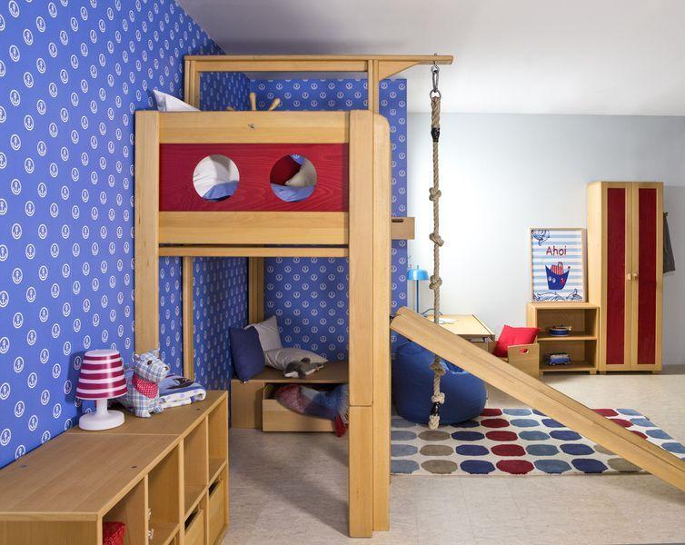 piratenbett mit rutsche und kletterseil kinderzimmer pinterest. Black Bedroom Furniture Sets. Home Design Ideas