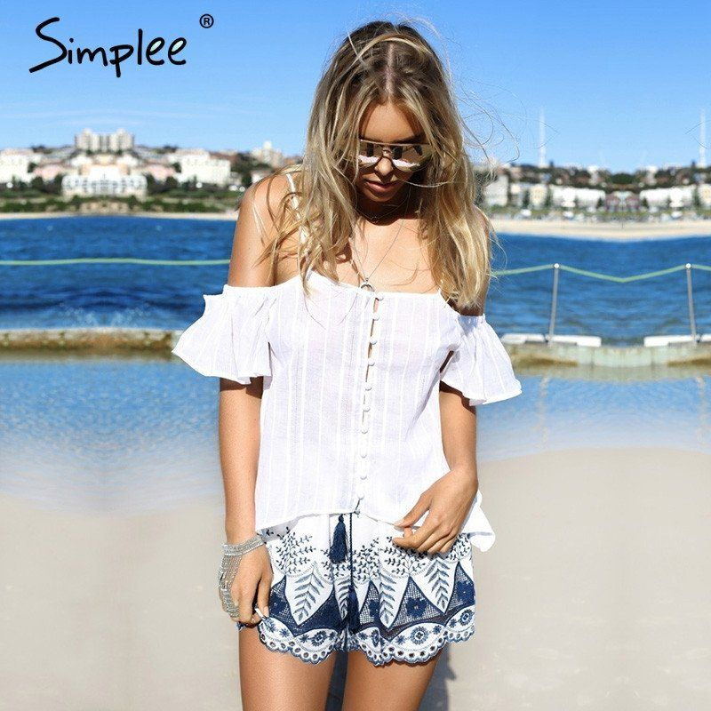 Simplee Embroidery high waist shorts women Loose tassel drawstring beach fringe shorts Boho summer cotton shorts 2017
