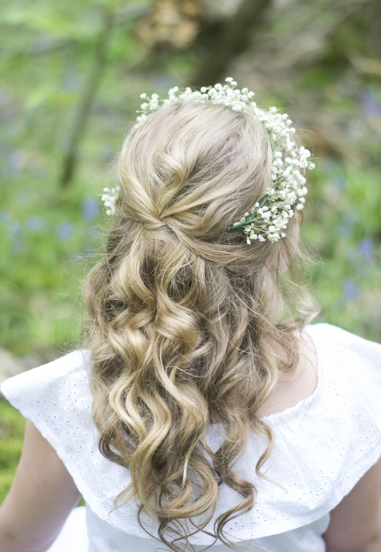 Pretty Half Up Half Down Flower Girl Hair Styles With A Bohemian