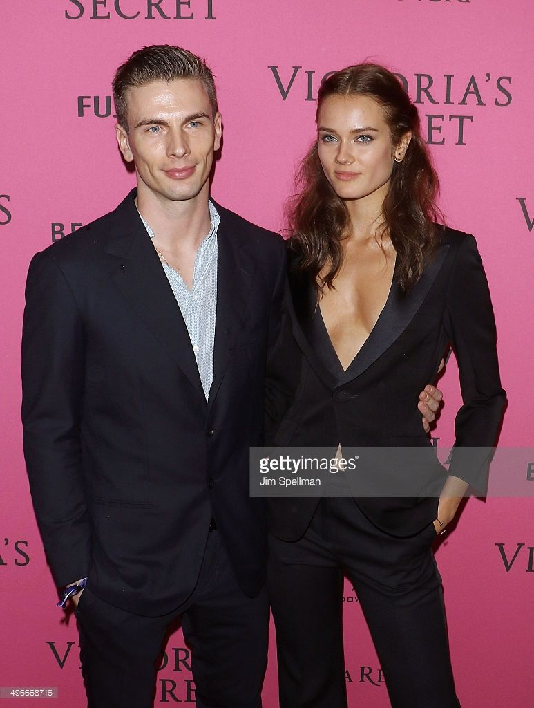 Model Monika 'Jac' Jagaciak (R) and guest attend the 2015 Victoria's Secret Fashion Show after party at TAO Downtown on November 10, 2015 in New York City.