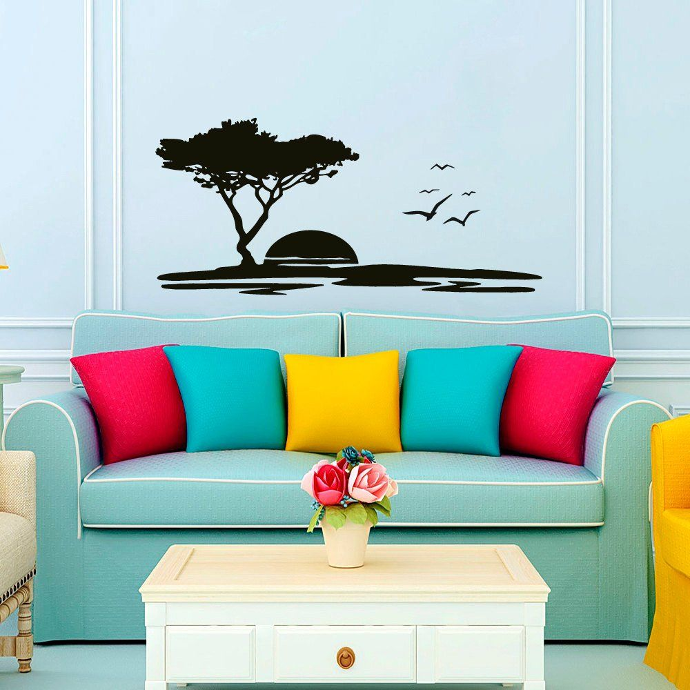 Wall Decals Landscape Sunset Flock of Flying Birds Seagull Decal ...