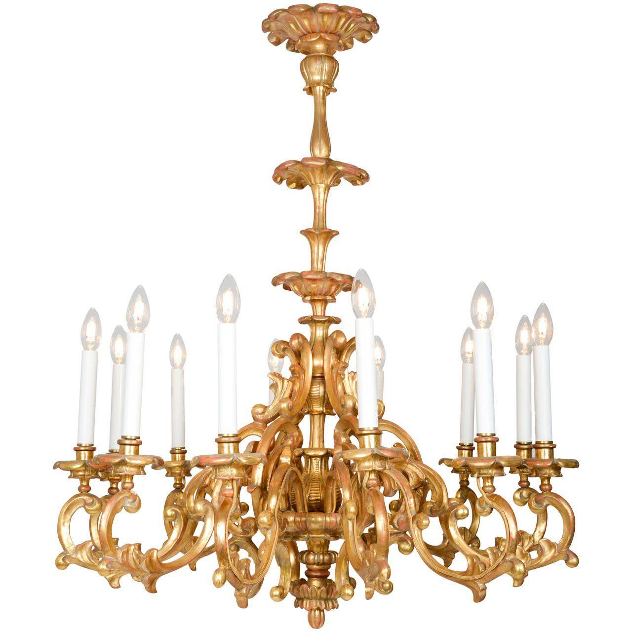 Baroque style twelve light giltwood chandelier pendant for Modern baroque style
