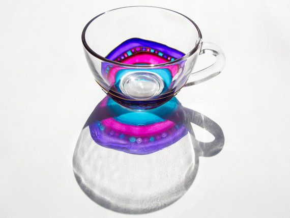 Etsy の Teacup Set Arabic Cup and Saucer Set Glass Cup by Vitraaze