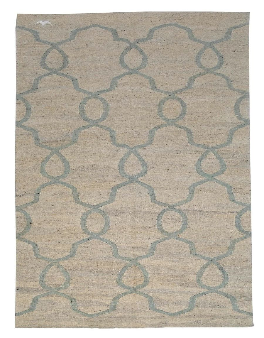 "5'7"" x 7'6"" Flat weave rug; 100% organic wool; Pera design, slate myrtle green, natural tea wash tone;  $1150. #DH829; each rug has a white bird woven at one end…!"