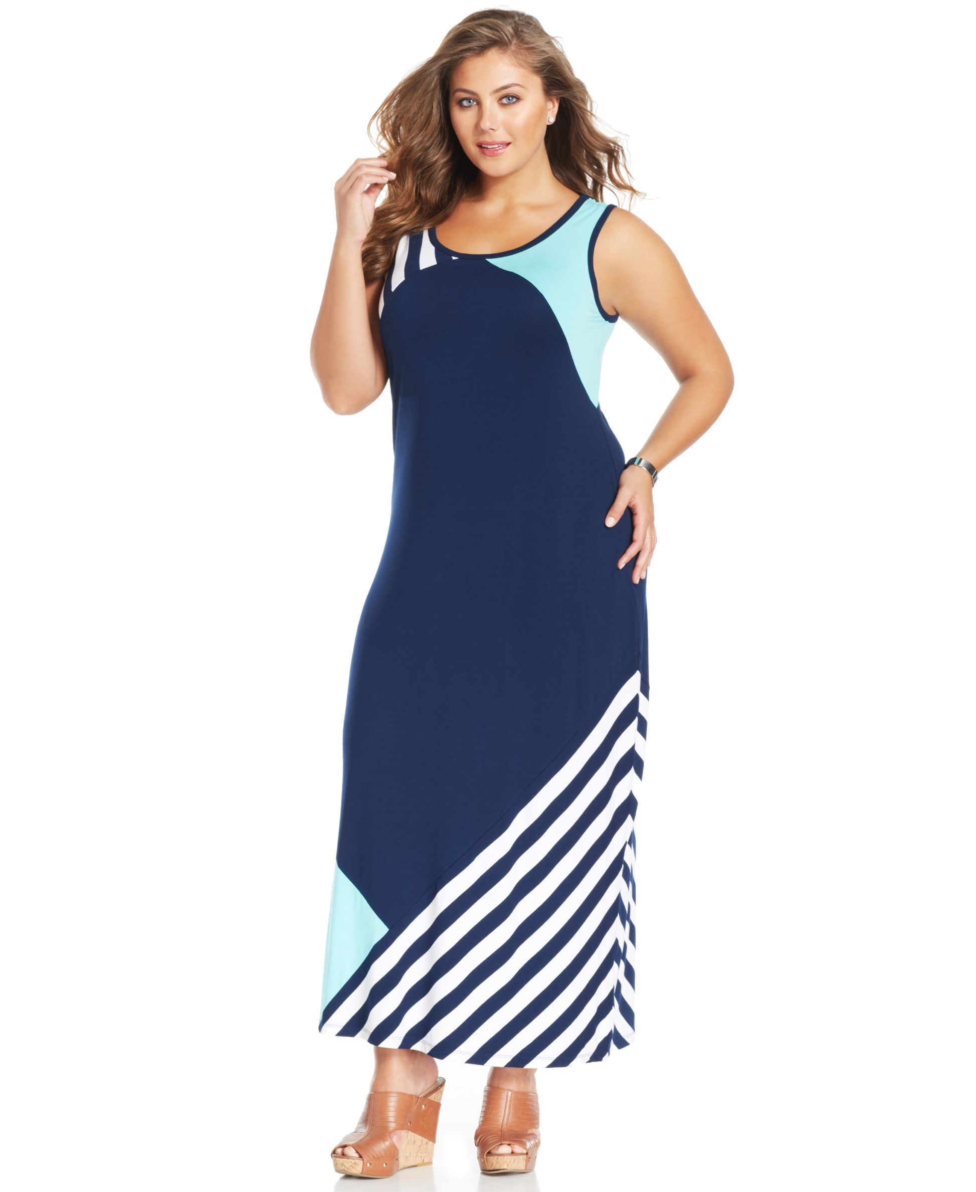 Style&co. Plus Size Colorblocked Maxi Tank Dress | Products ...