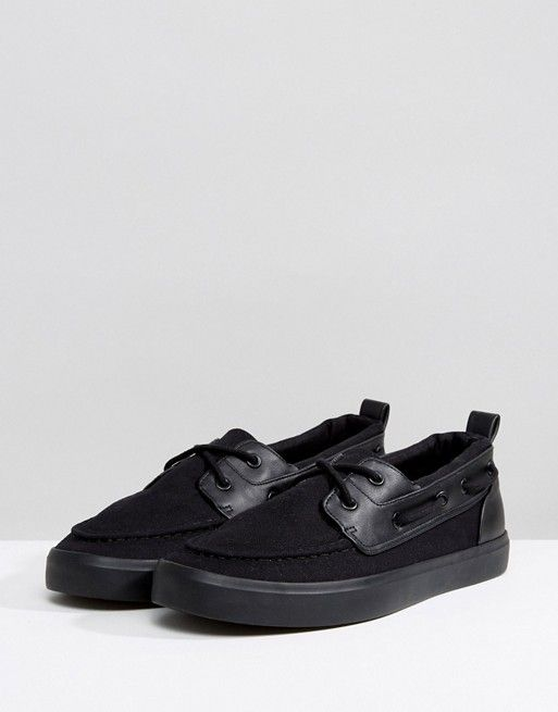 e923c13afee ASOS Wide Fit Boat Shoes In Black Canvas Boats