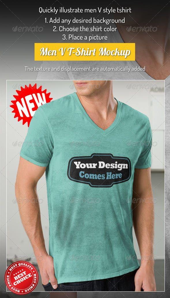 Download Professional V T Shirt Men T Shirt Design Template Clothing Mockup Mens Tshirts