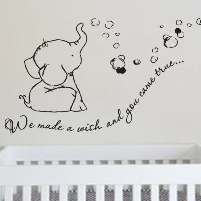 adorable we made a wish baby elephant wall decal sticker for