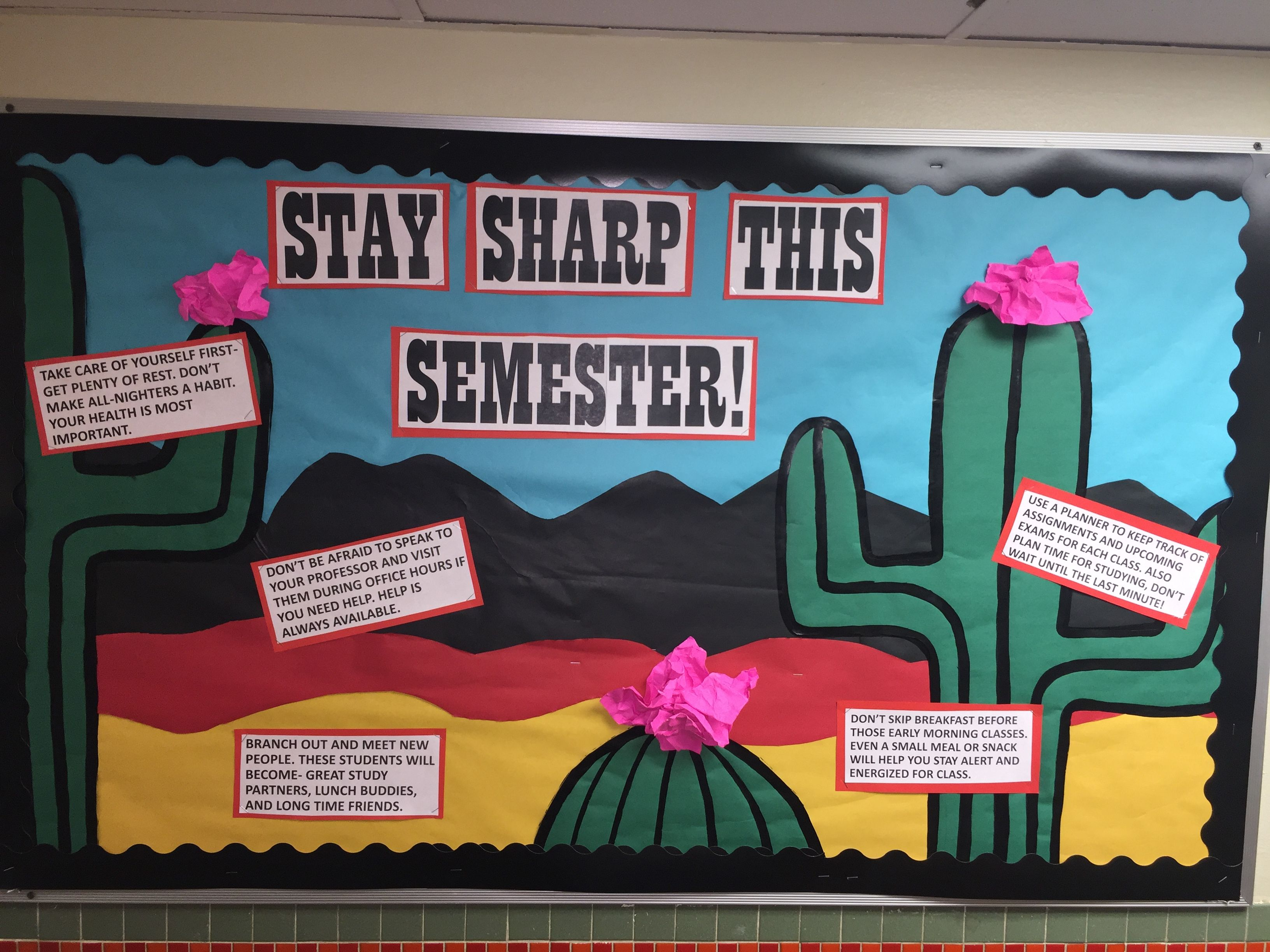 Classroom Bulletin Board Ideas For January ~ Stay sharp this semester cactus themed board ra ca