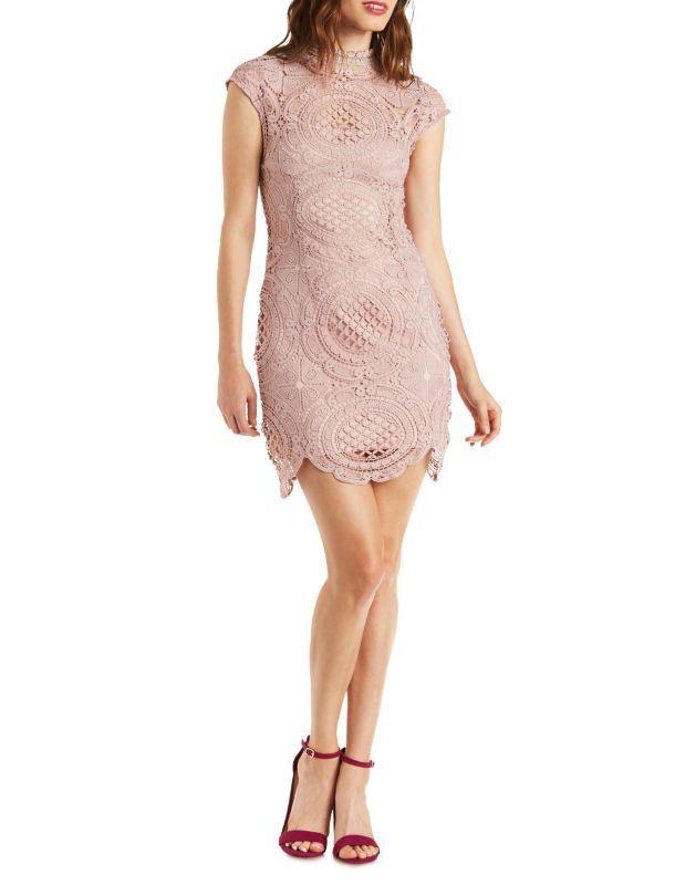 A.Peach Cap Sleeve Crochet Bodycon Dress