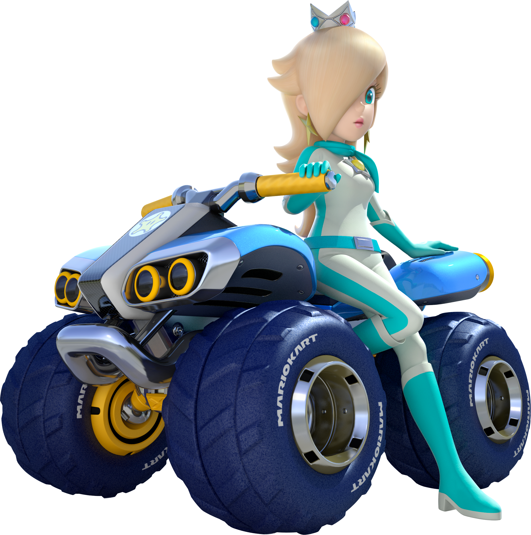 Rosalina On An Atv With Monster Truck Wheels Profile Artwork From